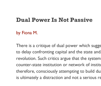 Dual Power Is Not Passive