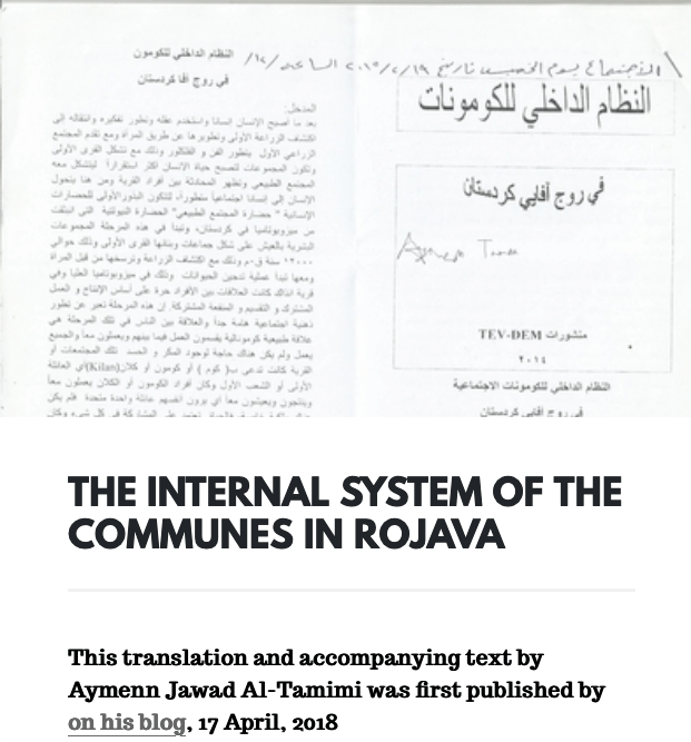 The Internal System of the Communes in Rojava