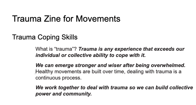 Trauma Zine for Movements